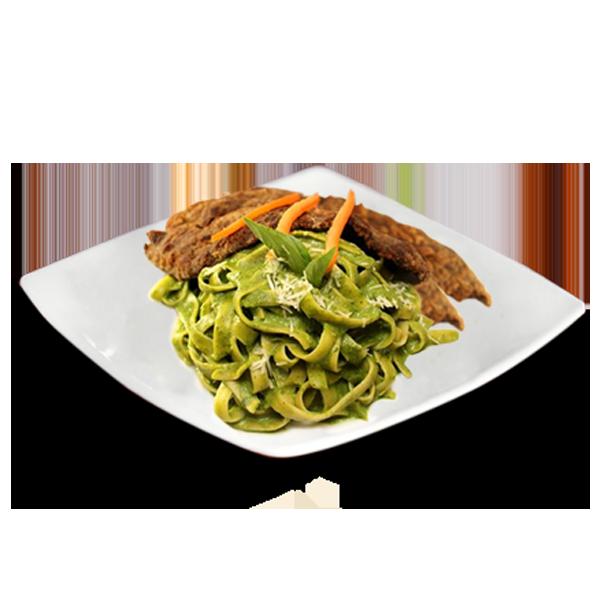 Fetuccini al Pesto con Milanesa de Carne